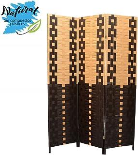 comprar comparacion Biombo Seaparador de ambientes, Bambú Natural y Papel Trenzado Negro/Natural 180 x 135 cm - Hogar y más