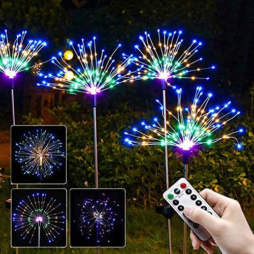 EPCHOO Outdoor Solar Firework Lights, 1Pcs Solar Starburst Lights Garden Lights 120 Multicolor LED, Copper Wires Solar String Landscape Light Fireworks Trees for Walkway, Yard, Christmas, Halloween