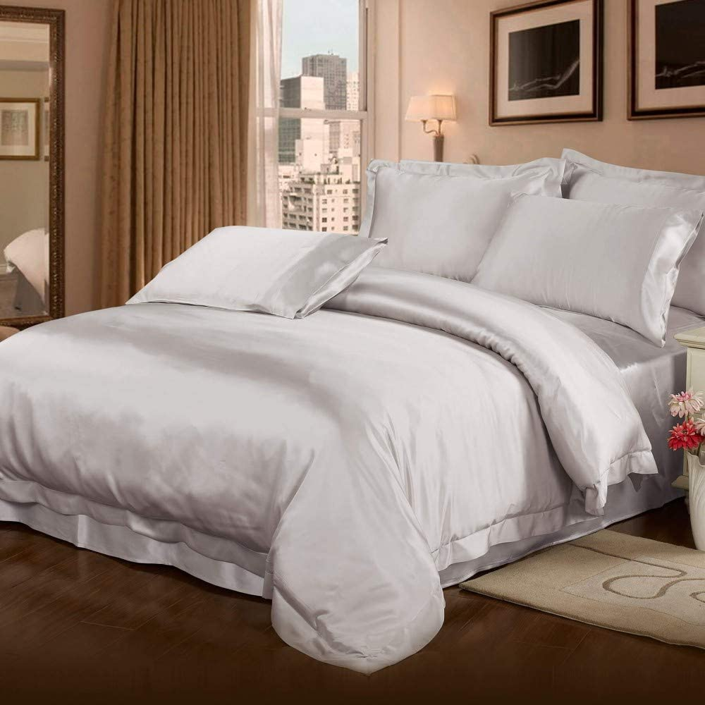 LilySilk 4pc Silk Sheet Set 22 Fitted SEAL limited New color product -Duvet Momme 2 Cover