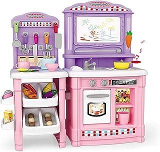 子供用シミュレーションキッチン玩具 ハウスクッキング玩具 ロールプレイング玩具 多機能ストーブ玩具 男の子と女の子3-7歳の誕生日プレゼント (Color : Pink, Size : 27*70*75cm)