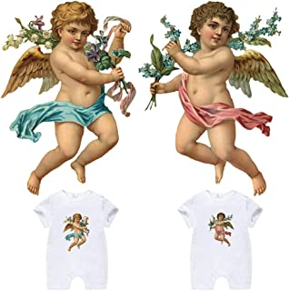 Patches for Kids Baby Iron On Appliques Heat Transfer Stickers with European Retro Little Angel Patterns Flowers Love Wings Bird for Free DIY Baby Shower Clothes, Baby Onesies, T-Shirt, Pillow(2 PCS)