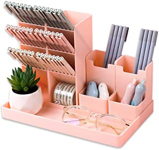 Migao coffee Pen Pencil Holder for Desk, Cute Stationery Home Office School Desktop Craft Art Supplies Accessory Crayon Caddy Box Organization Organizer Storage for Girl Kids (Pink)