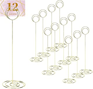 DerBlue 12pcs 8.75 inch Tall Table Number Holders Place Card Holder Table Picture Holder Stand to Hold Photo Numbers for Wedding Party Restaurant Menu Banquet(Round,Gold)
