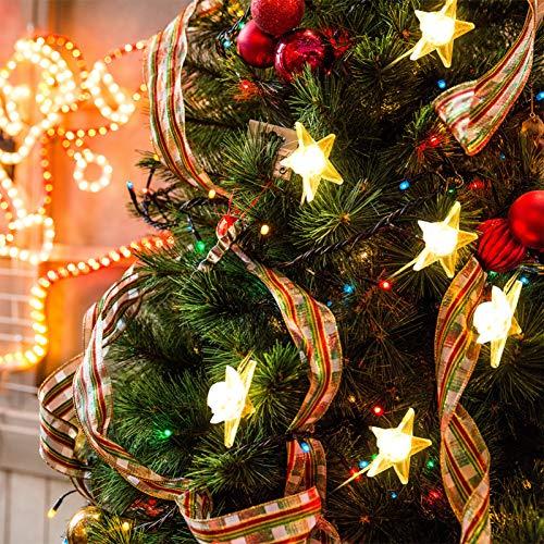 Uonlytech Julstjärna ljusslinga gnistra stjärnljus batteridriven ljusslinga för julfest bröllop trädgårdsdekoration (armvit)