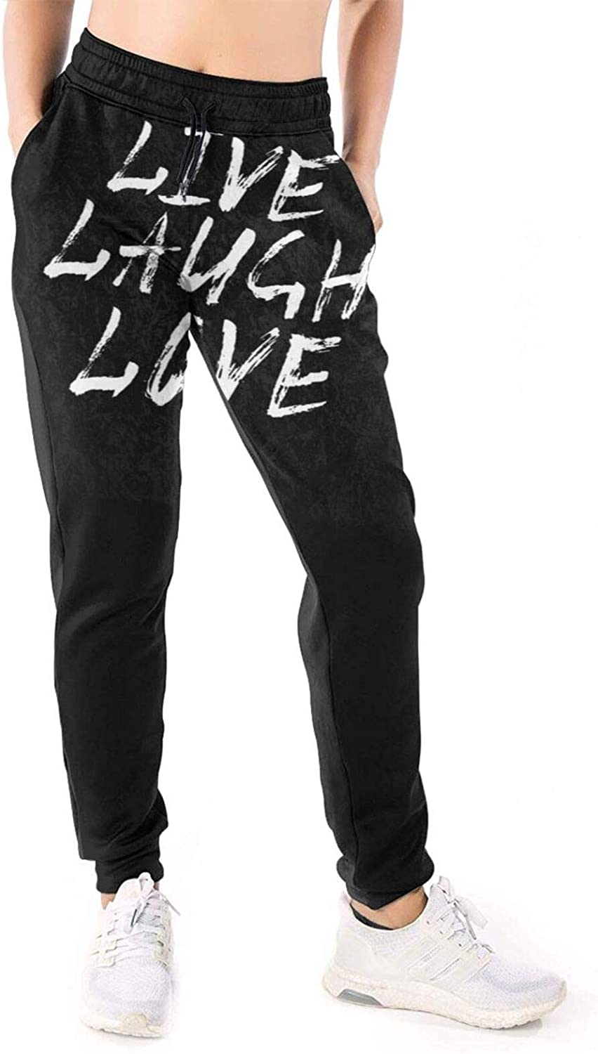 Women Joggers Pants Laugh Live Love White Athletic Sweatpants with Pockets Casual Trousers Baggy