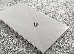 Blanco RAL 9003-80 x 150 Todas Las Medidas Disponibles Efecto Pizarra y Extraplano Incluye Sif/ón y Rejilla Crocket Plato de Ducha Resina Antideslizante Stone