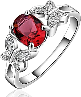 Yellow Chimes Butterflies-On-Ruby Fancy Silver Plated Ring for Women (Red)(YCFJRG-648INA-RD)