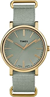 Timex TW2P88500 Originals Tonal Women's Analog Display Quartz Watch, Green Nylon Band, Round 38mm Case