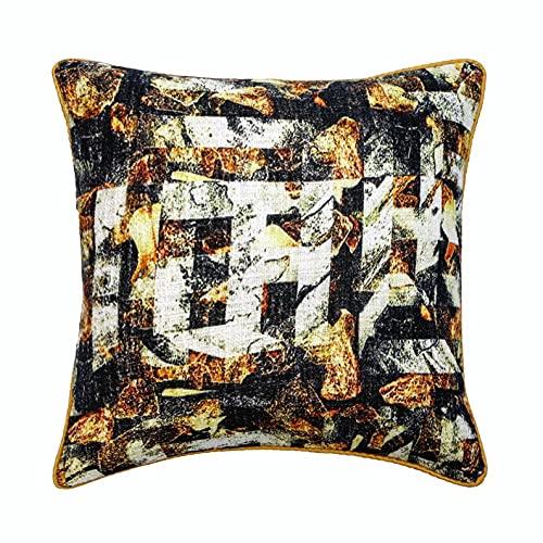 The HomeCentric Decorativo de Lujo Negro CojinDecorativo, 60x60 cm (24'x24') Arpillera Amortiguar, Funda de Cojín con Impreso Texturizado, Marroquí Amortiguar, Moderno CojinDecorativo - Maze Noir