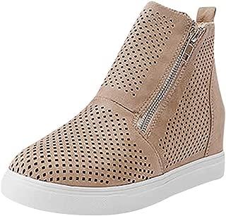 Shusuen Women Preforated Slip On Sneakers Casual Zipper Shoes