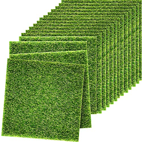 16 Stück Fee Künstlich Gras Lebensechte Garten Rasen Miniatur Ornament Garten Fee Zubehör DIY Simulation Moos für Puppenhaus Dekoration
