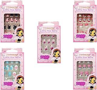 Lurrose 120 piezas de uñas postizas para niños uñas de dibujos animados pre-pegamento uñas de cubierta completa hermosas u...