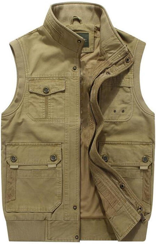 19a01308e6c13 Men's Casual Waistcoat Outdoor Photography Vest Waistcoat Cotton Collar  Collar Collar Cardigan Vest (color Brown, Size S) 8be018