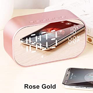 SevenAndEight LED Display Wireless Bluetooth Speaker,Digital Alarm Clock Subwoofer Stereo Loud (Rose Gold)