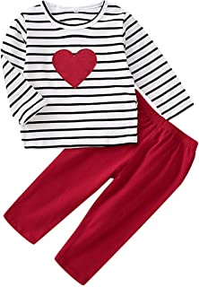 Sponsored Ad - Toddler Kids Girls Clothes Valentine's Day Love Printed Striped Tops Pant Leggings Outfits Set