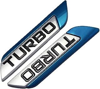 2pcs Metal TURBO Premium Car Side Fender Rear Trunk Emblem Badge Decals Universal (Blue TURBO)