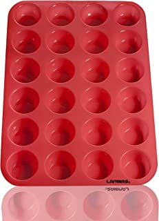 Laminas Silicone Mini Muffin Cupcake Baking Pan 24 Cup Size, BPA Free, Non Stick, Easy to Clean, Oven/Microwave/Dishwashe...