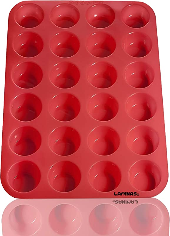 Laminas Silicone Mini Muffin Cupcake Baking Pan 24 Cup Size BPA Free Non Stick Easy To Clean Oven Microwave Dishwasher Freezer Safe Heat Resistant Up To 450F Red Plus Free Recipe EBook