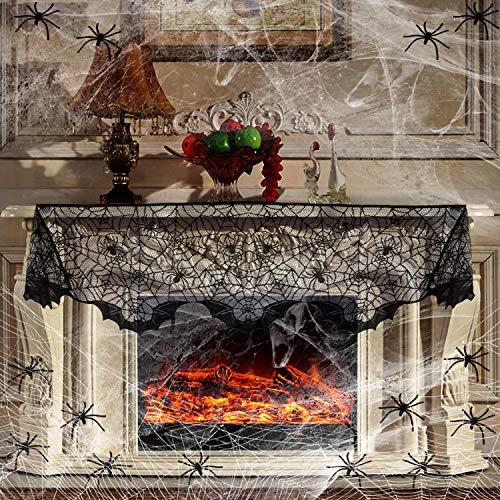 Juego de decoración de Halloween, diseño de telarañas de Halloween, 100 pañuelos de encaje negro para chimenea, 60 arañas para Halloween, decoración de la casa encantada