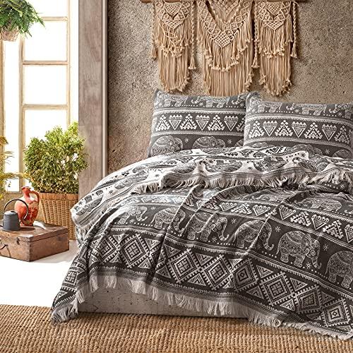 Class Home Collection Premium Tagesdecke | Bettüberwurf mit Fransen | Kuscheldecke 220x240 cm | Extra große Wohndecke | Sofadecke 100% Baumwolle | Elefant Muster | Anthrazit