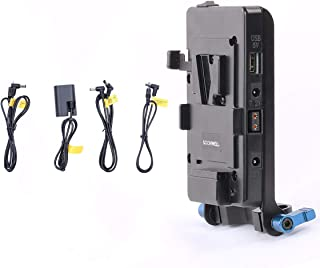 SOONWELL V-Mount Plate Power Supply with LP-E6 Dummy Battery 15mm Rod Bracket for DSLR RED Cameras,Camcorders, Monitors