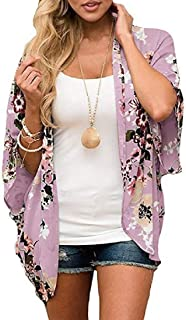 RkBaoye Women's Floral Print Puff Sleeve Kimono Cardigan Cover Up Tops Blouse