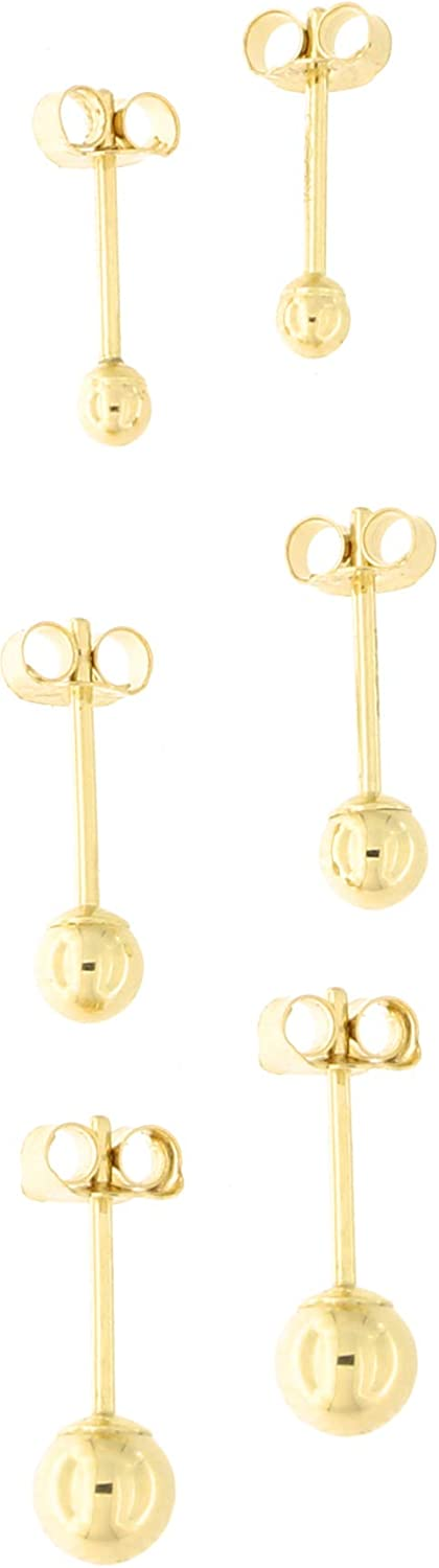 14k Yellow, White or Rose Gold 2 Millimeters, 3 Millimeters and 4 Millimeters Ball Stud Earrings Set