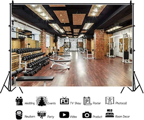 7x7FT Vinyl Photography Backdrop,Fitness,Muscled Man and Woman Background Newborn Birthday Party Banner Photo Shoot Booth