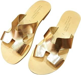 Ancient Greek Style Leather H Sandals Roman Handmade Womens Slide Shoes Gladiator Spartan Summer Slip-On Flat Heel Fashion