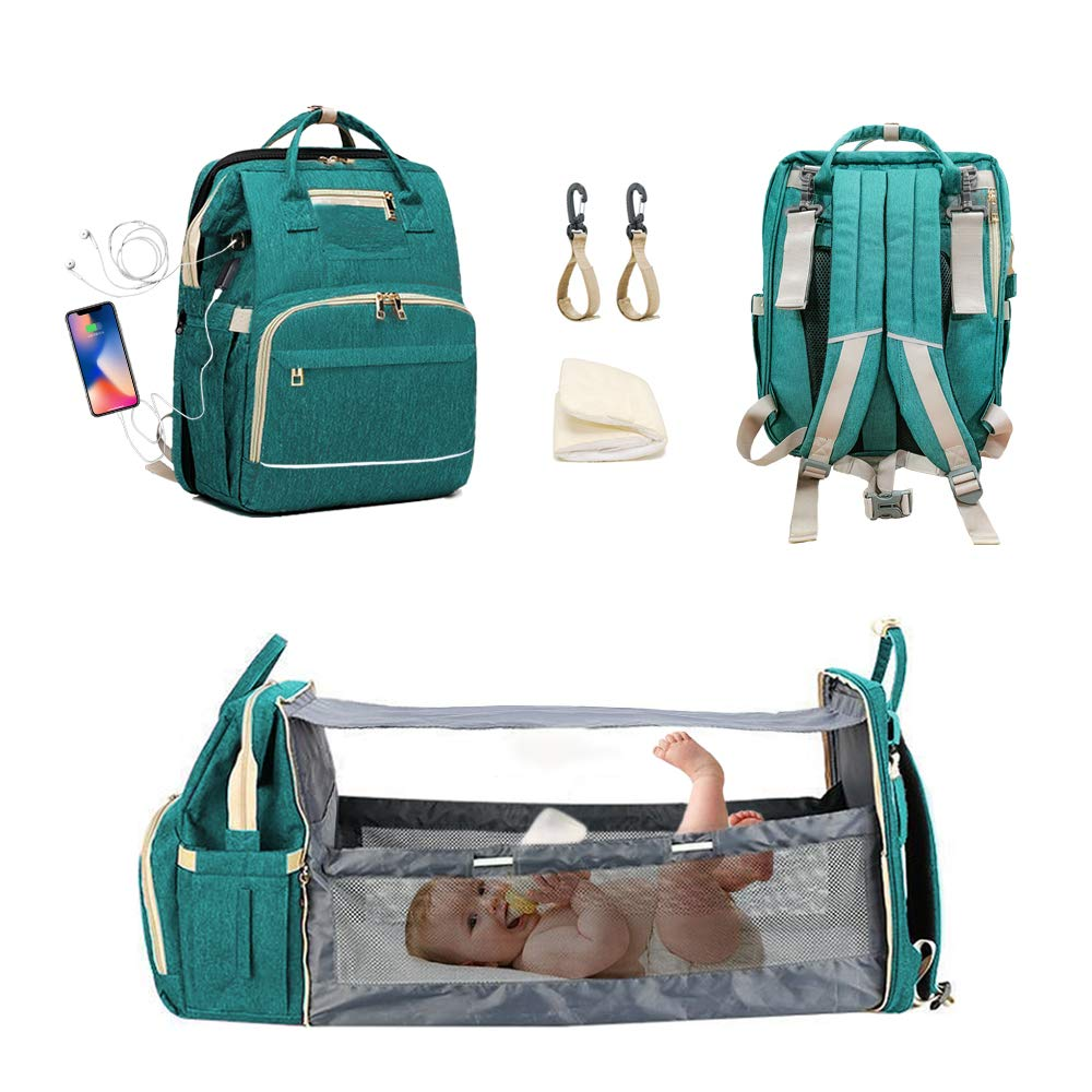 [Premium Version]3-in-1 diaper bag with changing station,Portable Mummy Bag Include Insulated Pocket,sun shade and USB charging port Waterproof green