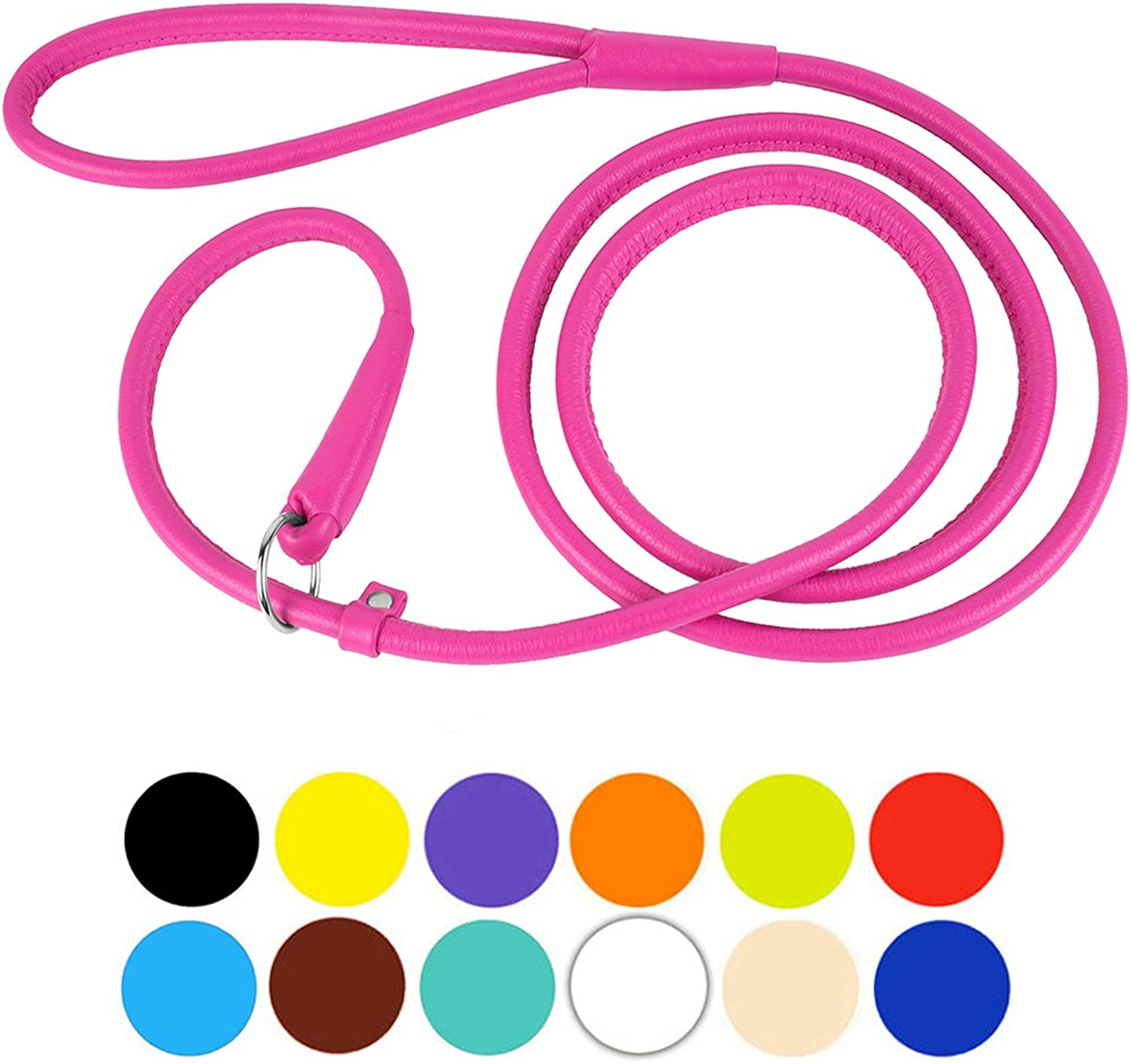 CollarDirect Rolled Leather Dog Leash 6ft or 4ft, Heavy Duty Slip Lead, Slip Leashes for Small Medium Large Dogs, Round Puppy Leash Female Male Pink Black Brown Red (S 6ft, Pink)