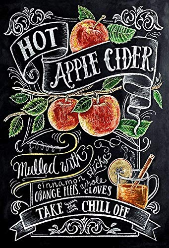 NWFS Alcohol Hot Apple Cider Recept metalen bord bord Metal Tin Sign gewelfd gelakt 20 x 30 cm