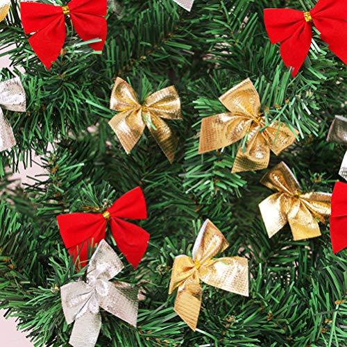 Toyvian Nudos de Lazo para la decoración del árbol de Navidad Arcos delicados de Navidad Adornos de Regalo Cintas Decorativas Arcos 72 Piezas (Plata Dorada roja)