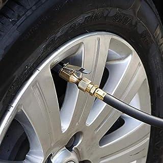 LIZHOUMIL Mandril de ar de latão com fluxo fechado, mandril de pneu reto com clipe de trava para inflador de pneu, medidor...