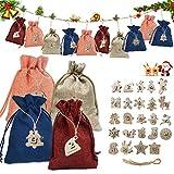 Sunshine smile 24 Bolsas de Tela navideñas,Bolsas de Yute para Rellenar,Calendario Adviento Navidad,Calendario de Adviento,Bolsa de Regalo Navidad,DIY Bolsa para Regalo (B)