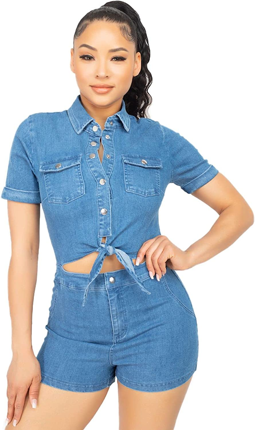 Blue Age Women's Denim Rompers Bottom Sets Free shipping anywhere in the nation Jean Top Limited time for free shipping and