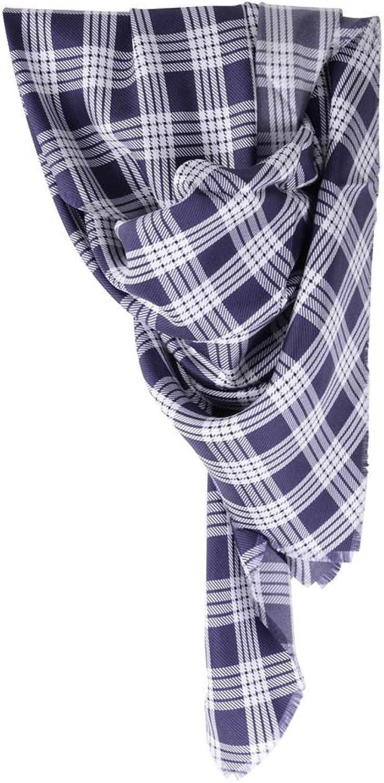 Agnona Scarf Unisex bluee White Checkered Silk 90 cm x 90 cm