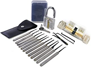 Moli 15pcs Locksmith Tool with 2pcs Transparent Lock,Great Lock Pick Set for Beginner,Transparent Lock Picking Practice Set