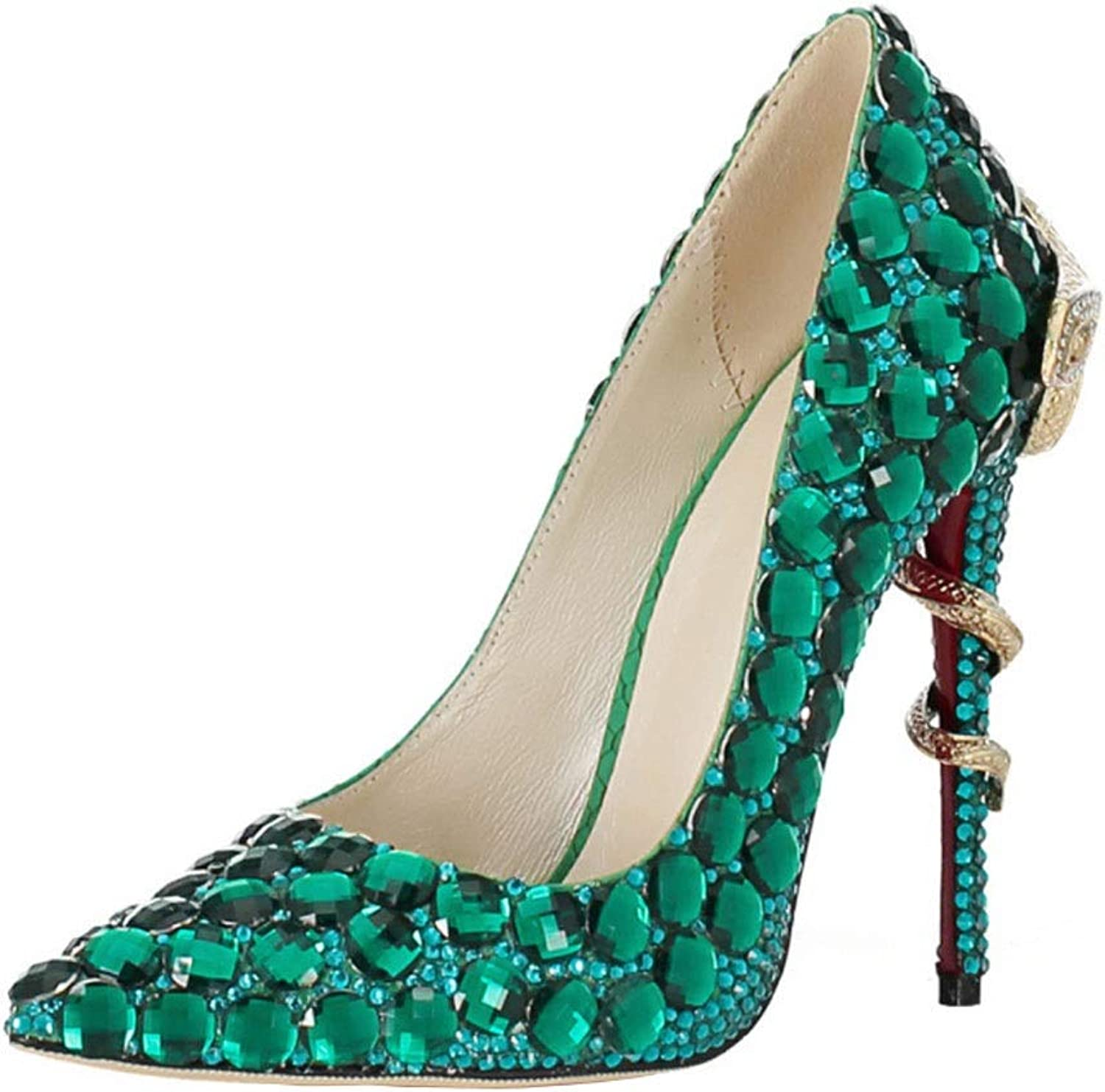 FLYSXP Women's Single shoes Rhinestone Platform High Heels Shallow Mouth Pointed Sandals Wedding Prom Pump Women's shoes (Size   8.5 US)