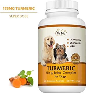 Turmeric Hip & Joint Complex for Dogs with Glucosamine Chondroitin MSM - Best Anti Inflammatory for Dogs - Arthritis Pain Relief - Supplement for Joint Health - 120 Chewable Tablets