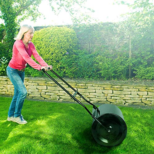 TACKLIFE Lawn Roller with Capacity 60L/16 gallons, 16x20-Inch Garden Drum Roller Push/Tow Behind for Eliminating Turf Damage, Depositing Loose Dirt, Seeding
