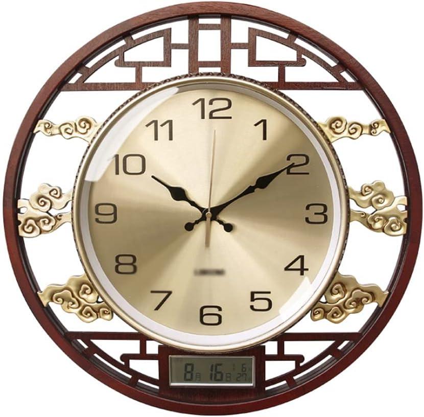 ZANZAN Reloj de Pared del Calendario perpetuo de 20 Pulgadas Redonda silenciosa sin tictac Reloj de Pared Reloj de Pared con numerales (Color : Normal Trumpet)