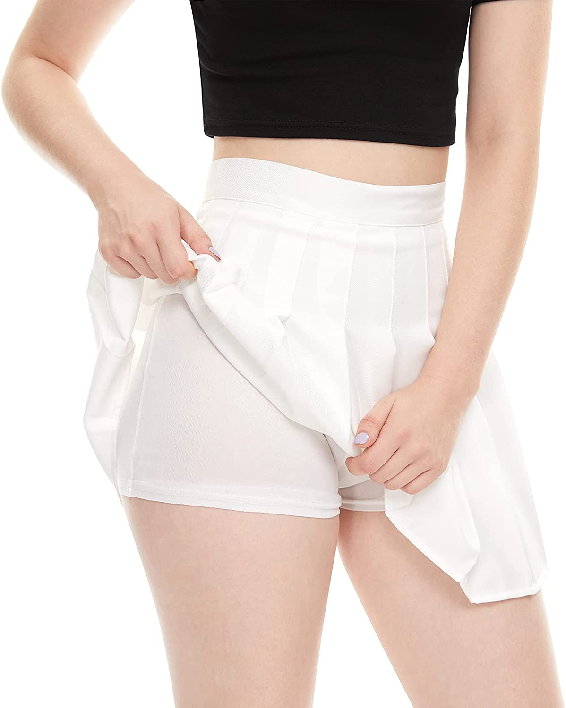 Girls Gifts Women High Waisted Plain Skirt Pleated Tennis Boston Mall Schoo Skater