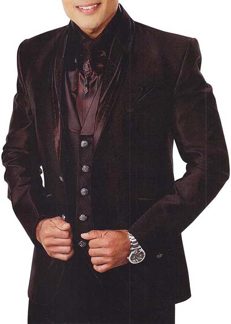 INMONARCH Mens Burgundy 7 Pc Tuxedo Suit Engagement TX903