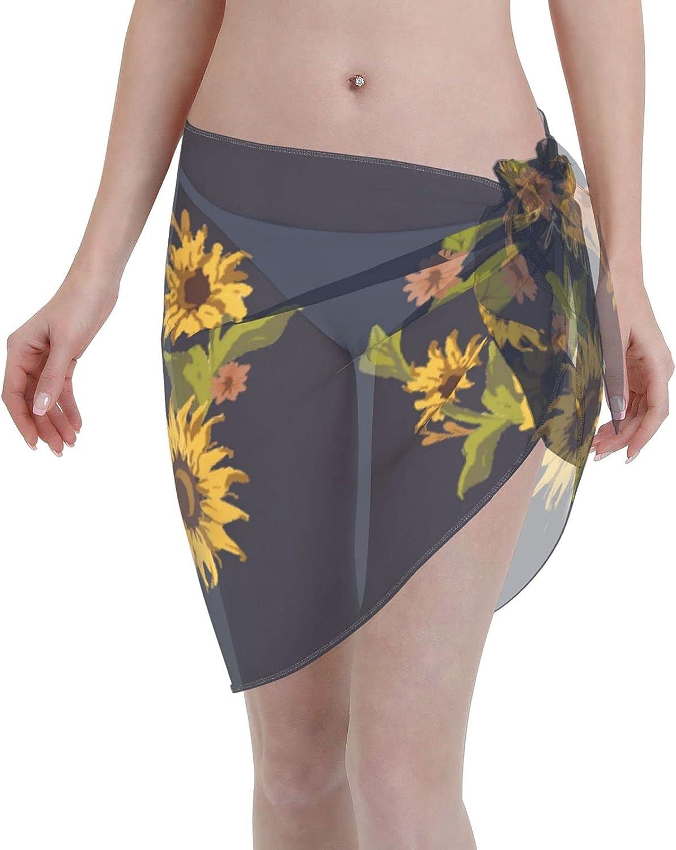 Reindeer Horn Women Short Sunflower Wreath Sarongs Cover Ups Beach Chiffon Sarong Bikini Swimwear Black