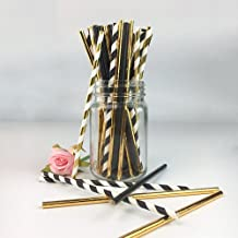 Biodegradable Stripe Straws Gold and Black Paper Drinking Straws for Party 100 Pcs 7.75 Inches for Adult and Kids by Youme...
