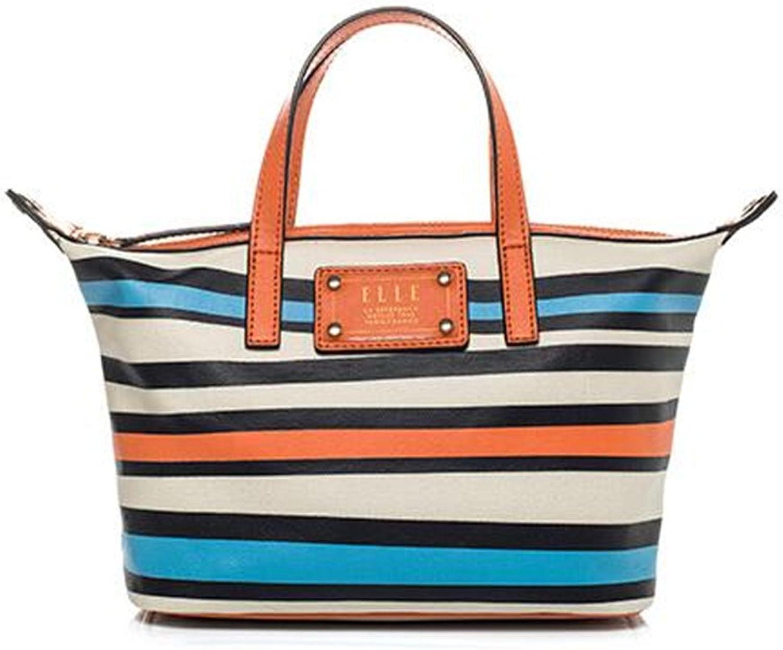 Elle 2016 New spring and summer women's color striped handbag