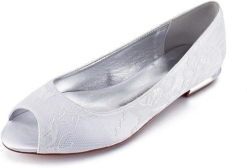 Zxstz femmes Nuptiale de Mariage Parti Bas Talons Bal Peep Toe Chaussures de Mariage en Dentelle