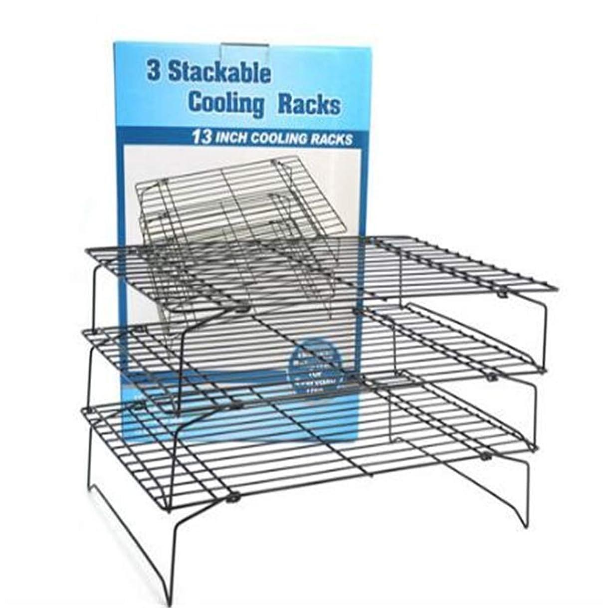 おいしい瞑想的人ノンスティックパン冷却ラックグリル安全スタッカブルノンスティッククロスグリッドクッキー冷却ラックベーキング用品パンケーキビスケットを作るのに適しています3層