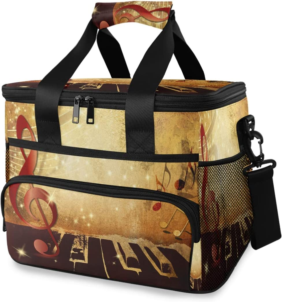 TropicalLife Cooler Lunch safety Denver Mall Bag Abstract Music Note Piano Insulate